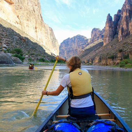 Students paddling down the Rio Grande as part of a two week canoe expedition.