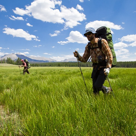 Students crossing a boggy meadow in the Wind River Range.