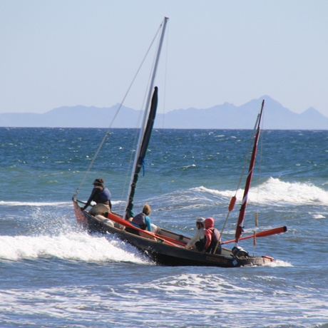 Students navigate a surf filled landing at San Bruno in Baja, Mexico.